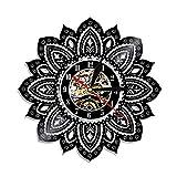 Mandala Pared Arte Disco de Vinilo Reloj de Pared Flor de Loto Mandala Yoga Buda Ornamento decoración de Pared geométrica Regalo de la Vida para Ella