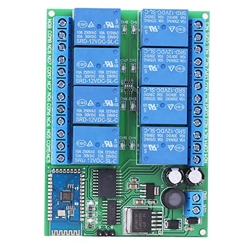 8-Channel Bluetooth Relay, 12V 8-Channel Bluetooth Relay Module Remote Control Switch Board for Android