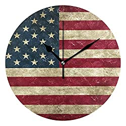 Dozili Golden Pineapple Round Wall Clock Arabic Numerals Design Non Ticking Wall Clock Large for Bedrooms,Living Room,Bathroom