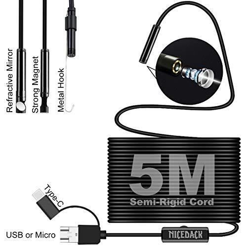 USB Inspektion Endoskop HD Kamera, Helligkeit einstellbar LED Leuchten mit 5,5 mm Objektiv 5M Extra lange 16.4FT Semi Rigid Schnur, Unterstützung Micro, USB und Typ-C für OTG Android, Windows / Mac