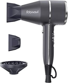 【YOUR FIRST REAL IONIC SYSTEM HAIR CARE DRYER】Ribivaul 1875W Compact & Lightweight Hair Dryer ,Pro Ion quiet Hairdryer with 2 Speed 3 Heat Settings Cool Button,Negative Ionic Dryer,Travel Hair Dryer