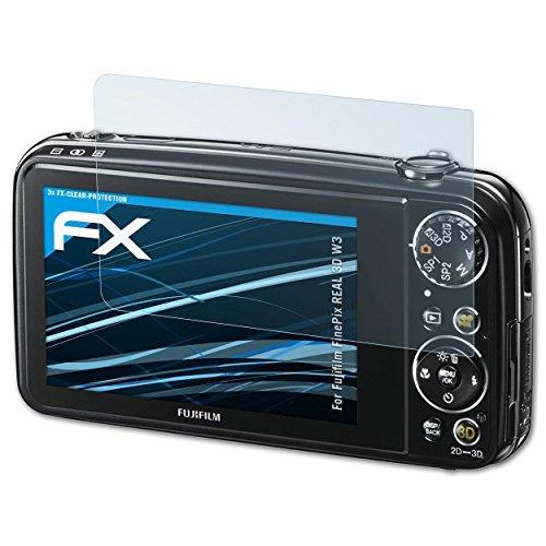 atFoliX Schutzfolie kompatibel mit Fujifilm FinePix REAL 3D W3 Folie, ultraklare FX Displayschutzfolie (3X)