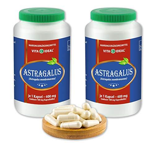 VITAIDEAL ® Astragalus-Wurzel (Astragalus membranaceus, Tragant-Wurzel) 2x360 Kapseln je 600mg, aus rein natürlichen Kräutern, ohne Zusatzstoffe von NEZ-Diskounter