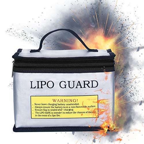 01 Bolsa de batería, Bolsa Protectora de batería Portátil de Plata incombustible para almacenar Productos inflamables para almacenar Productos explosivos para almacenar la batería
