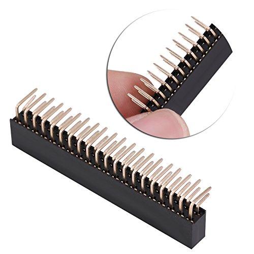 Buchsenleiste,Jectse 3pcs 2 x 20 Pins 2.54mm Steckerleiste Pitch Female Zweireihige rechtwinklige Stiftleisten für Raspberry Pi