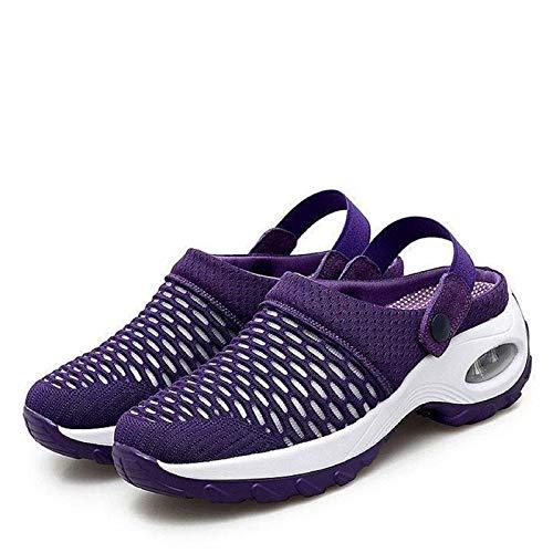 LKSDJ Zapatos de Deslizamiento con cojín de Aire Informales y Transpirables para Mujer, Sandalias ortopédicas para Caminar, Zapatos de jardín con cojín de Aire de Malla
