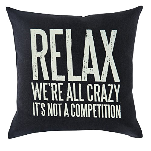 Bnitoam Life Mood Phrases Relax We're All Crazy It's not a Competition Cotton Linen Throw Pillow Covers Case Cushion Cover Sofa Decorative Square 18 x 18 inch (1)