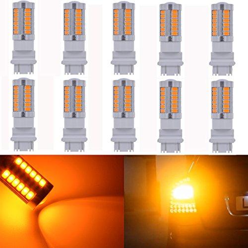 Katur Ambre 3157 3047 3057 3155 Base 18 SMD 5050 LED de remplacement pour auto ampoule à incandescence Intérieur RV Camper Turn Tail Signal lampe de sauvegarde de frein de stationnement Feux latéraux de fin 360 lumens DC 12 V 10-pack