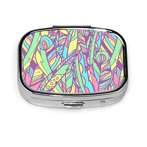 Daily Pill Organizer Abstract Colored Feather Square Box Case Compact 2 Compartment Vitamins Tablet Holder Container Metal Portable for Daily Needs Travel Purse Pocket