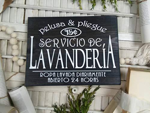 Ced454sy Letrero de madera de lavandería española divertida cita lavanderia española decoración del hogar signo español...