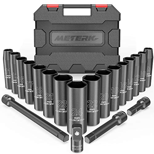 Set Bussole a Impatto 20 PCS Meterk 1/2' Prese di Impatto (9-24mm) Barra di Estensione da 3 '', 5 '', 10 '' con Adattatori per Chiavi a Bussola da 3/8 '' a 1/2 ''