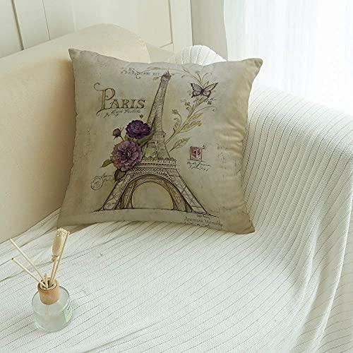 Fundas de almohada de 45,7 x 45,7 cm, fundas de cojín de mariposa, cuadradas, fundas de almohada para sofá, dormitorio, coche, Paris Torre Eiffel