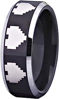 Cloud Dancer Tungsten Wedding Ring 8mm Black with Silver Edge Legend of Zelda 8-Bit Heart Design-Free Inside Engraving