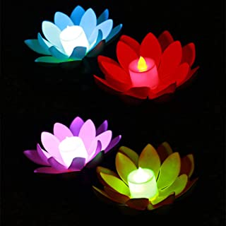 Uonlytech LED Floating Lotus Lantern Wishing Water Lily Artificial Candle Flower Lanterns Pool Decor for Festival Party (W...
