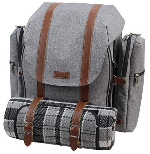 Picnic Backpack for 4 | Picnic Basket | Stylish All-in-One Portable Picnic Bag with Complete Cutlery Set, Stainless Steel S/P Shakers | Picnic Blanket Waterproof Extra Large | Cooler Bag for Camping