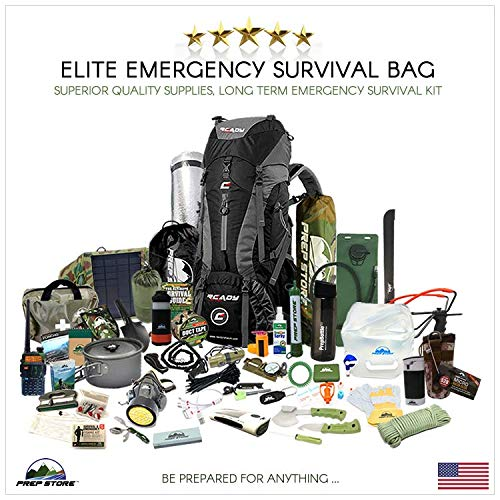 Prep Store - Elite Emergency Survival Pack - Survival Kit - Bugout Bag - Hurricane Emergency Kit - Survival Bag - Bug Out Bag (Elite Kit)