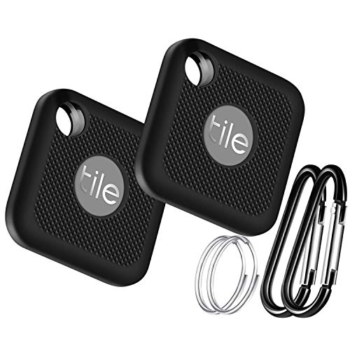 Silicone Case for Tile Pro (2020 & 2018), 2 Pack Cover Case Anti-Scratch Lightweight Soft Full Body Shock Protective Sleeve Ultra Slim Skin for Tile Pro Bluetooth Anti-Loss Device with Carabiner Black