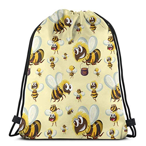 XCNGG Bolsa de gimnasia Bolsa con cordón Bolsa de viaje Bolsa de deporte Mochila escolar MochilaSeamless Bumble Bee Pattern Gym Bag Travel Drawstring Backpack Men & Women Sport Bag Portable Storage Ba