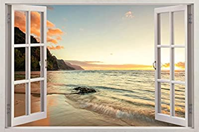 Beach Sunset Exotic 3D Window Decal Wall Sticker Decor Art Mural Waves H608