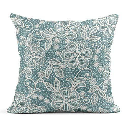 Cojín Crochet Encaje Abstracto Patrón Floral Antiguo Cumpleaños Celebración Manualidades Cojín de Lino Hogar Decorativo Almohada