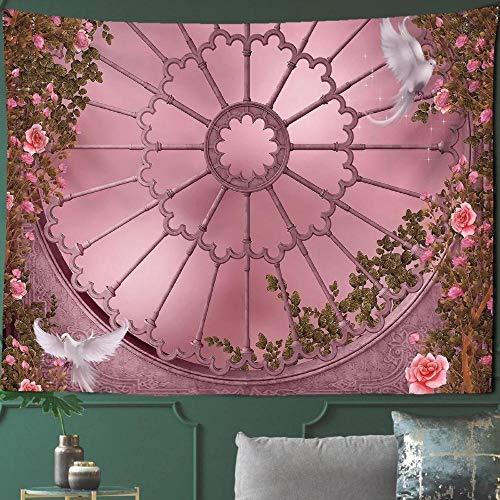 Estilo gótico Arquitectura Tapiz Arte Hogar Rosa Paisaje Ilustración de la Edad Media Pared colgante Palomas Animales Corte Mujer 150x200cm