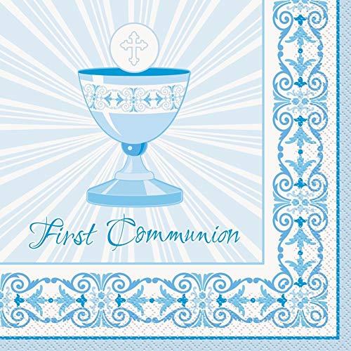 Santo 1ª/primera comunión, gama de fiestas azul/niño – CRUZ RADIANTE ÚNICA