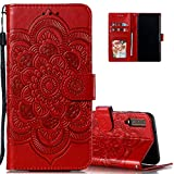 LEECOCO for Samsung A7 2018 Case Embossing Luxury PU Leather Flip...