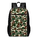 GgDupp Aniaml Bape Sac à Dos d'école pour Ordinateur Portable 17 Pouces Vert Camouflage, Polyester, Noir, Taille Unique