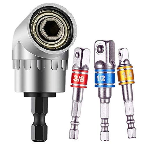 Impact Grade Driver Sockets Adapter Extension Set Drill Bit+Right Angle Drill,3Pcs 1/4 3/8 1/2' Universal Socket Adapter Set,105 Degree Right Angle Screwdriver set Drill Hex Bit Socket Adapter