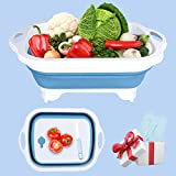 Collapsible Cutting Board with Colander,Kitchen Vegetable Washing Basket,Multi-function Chopping...