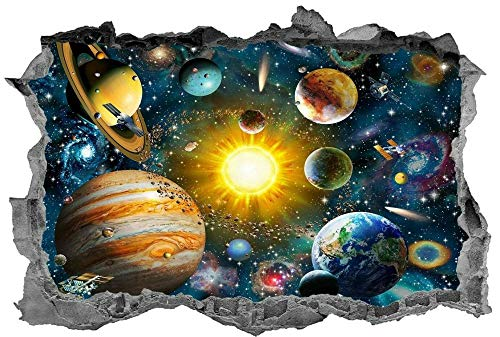 Wandtattoo'Solar System,Wall Art,Space,3d,Bedroom,Planets,Sticker,Decal,Mural'