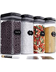 Chef's Paths Airtight Storage Jars for Your Kitchen - Pantry Storage Set - Perfect Storage for Flour, Cereals, Spaghetti - Transparent Plastic Containers with Durable Lids (4 Pc - 3.2 L)