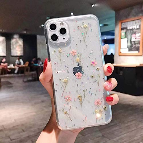 Flowers for iPhone 12/12 Pro Cute Case Real Flower Glitter Floral Design Slim Shockproof Soft Flexible Clear TPU Back Phone Cove for iPhone 12/12 Pro 6.1 inch - Pink Flowers