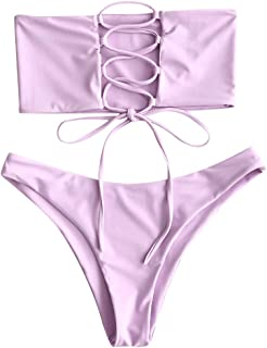 ZAFUL Women's Bathing Suit Adjustable Back Lace-up Bandeau Bikini Set