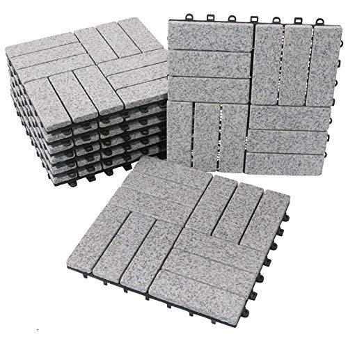 BodenMax Baldosa clic en granito natural   Modelo Barroco   Gris   30 cm x 30 cm x 2,5 cm   Set de 8 baldosas = 0,72 m²  Para terrazas, jardines, balcones, piscinas, saunas. interiores y exteriores