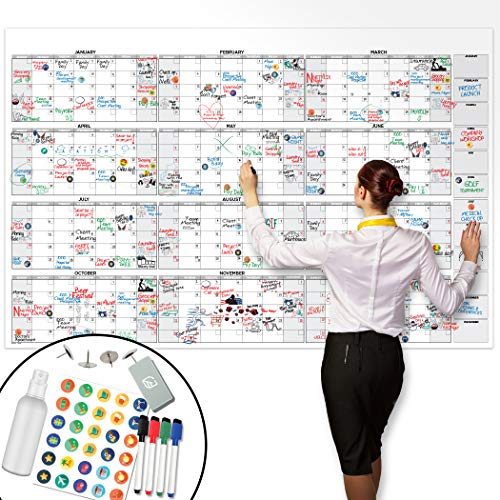 "Large Dry Erase Wall Calendar - 38"" x 58"" - Undated Blank 2020 Reusable Yearly Calendar - Giant Whiteboard Year Poster - Laminated Office Jumbo 12 Month Calendar"