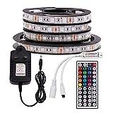XUNATA 12V RGB LED Strip Lights, 5050 60LEDs Strips Self Adhesive Tape, 44 Key Remote IR Controller + UK Power Supply Rope Light Kit (2m, IP65 Waterproof)