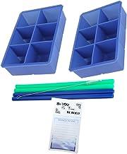 Large Size Silicone Ice Cube Beverage Bundle - Large Ice Cube Tray (2 Pack) 6 Cubes per Tray | 8 mm Silicone Straws (4 Pac...