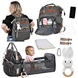Diaper Bag with Changing Station - Baby Bag Backpack with Portable Bassinet and Travel Bed Mat Pad - Cute Rabbit Distraction Toy for Diaper Change - Large Storage, Waterproof, Grey with Charging Port