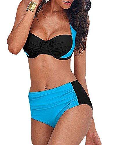 Femmes Bikini Dos Nu Double Couleur Bandage Rembourré Soutien-Gorge Maillots de Bain Lac Bleu XL
