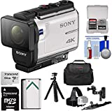 Sony Action Cam FDR-X3000 Wi-Fi GPS 4K HD Video Camera Camcorder with Arm & Helmet Mounts + 64GB Card + Battery + Case + Flex Tripod + Kit