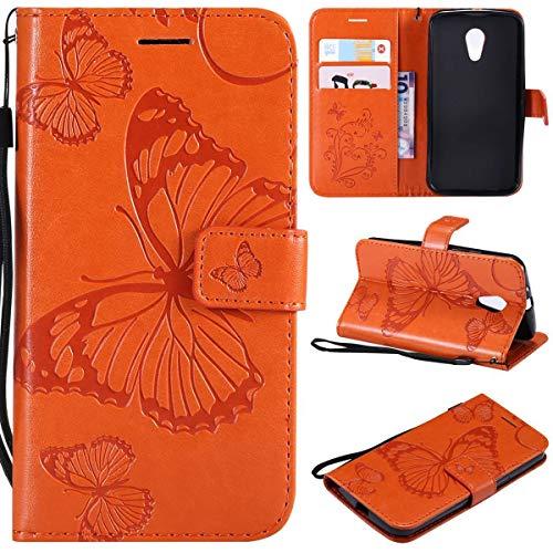 Sangrl PU-Leder Hülle Für Motorola Moto G 2 Generation, 3D Butterfly Flip Schale Brieftasche Mit Bracket-Funktion Kartenfächer Wallet Hülle Tasche Für Motorola Moto G 2 Generation - Orange