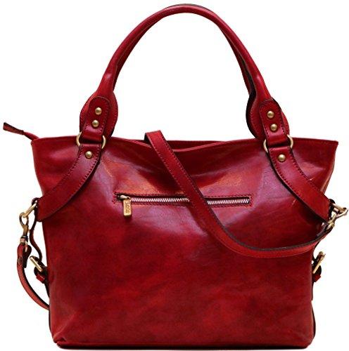 Floto Red Taormina Bag in Italian Calfskin Leather - handbag, shoulder bag, hobo