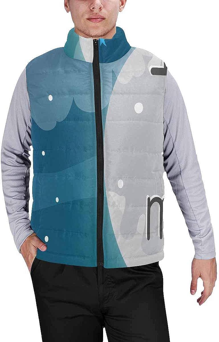 InterestPrint Men's Casual Sleeveless Coats with Personality Design Hummingbird Lavender Flowers