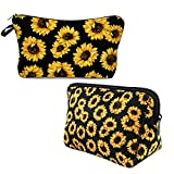 2 Pieces Sunflower Makeup Bags for Women,Waterproof, Soft, Zipper Toiletries Cosmetic bag Pouch Travel Bags,Adorable Roomy Makeup Bags Accessories Organizer Gifts