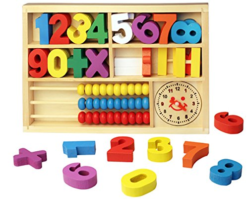 Youkara 1 PC Digital Learning Digital Box Bloques de Madera Abacus Wooden Box Infantil Early Learning Toys