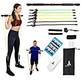 Spirited Namaste-Portable Pilates/Yoga Body Bar & Stick Home Toning Workout Kit with 3 Resistance Bands: Accessories, Suspension Exercise bar Workout Bands Trainer with Foot Strap & Pilate Gym Band