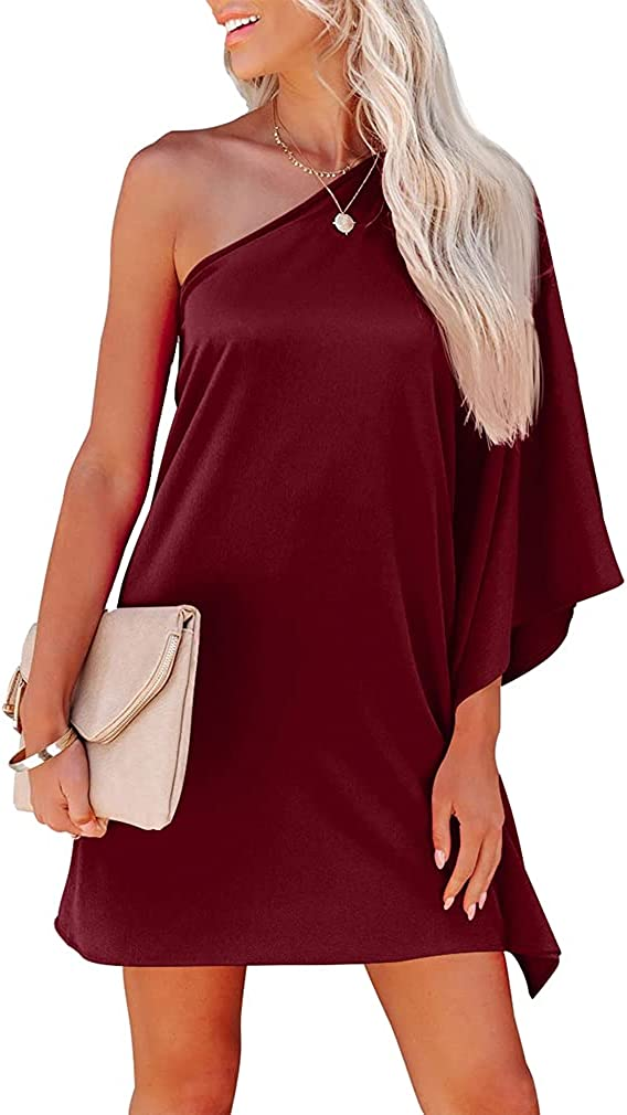 ZileZile Women's Sexy One Shoulder Batwing Loose Casual Solid Color Club Party Mini Dress