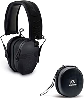 Walkers Razor Quad Electronic Shooting Hearing Protection Muff, Bluetooth Sync with Mobile Devices (Black) and Protective Case Kit