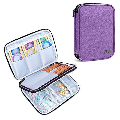 Luxja Knitting Needles Case(up to 8 Inches), Travel Organizer Storage Bag for Circular Needles, 8 Inches Knitting Needles and Other Accessories(NO Accessories Included), Purple